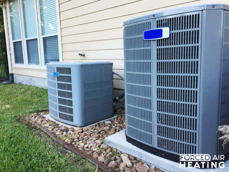 Forced air heating and cooling systems