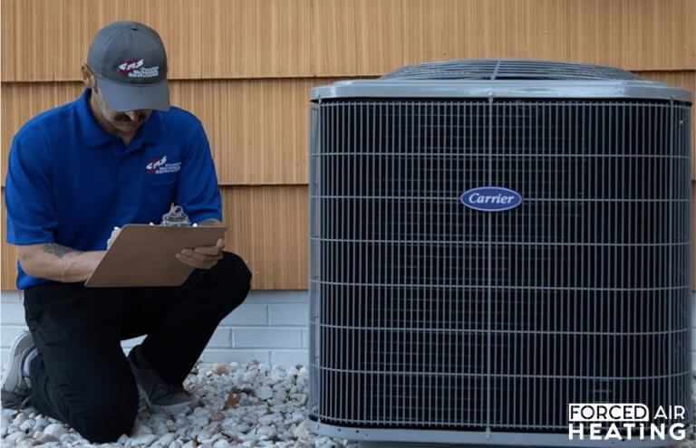 Forced air heating installation process